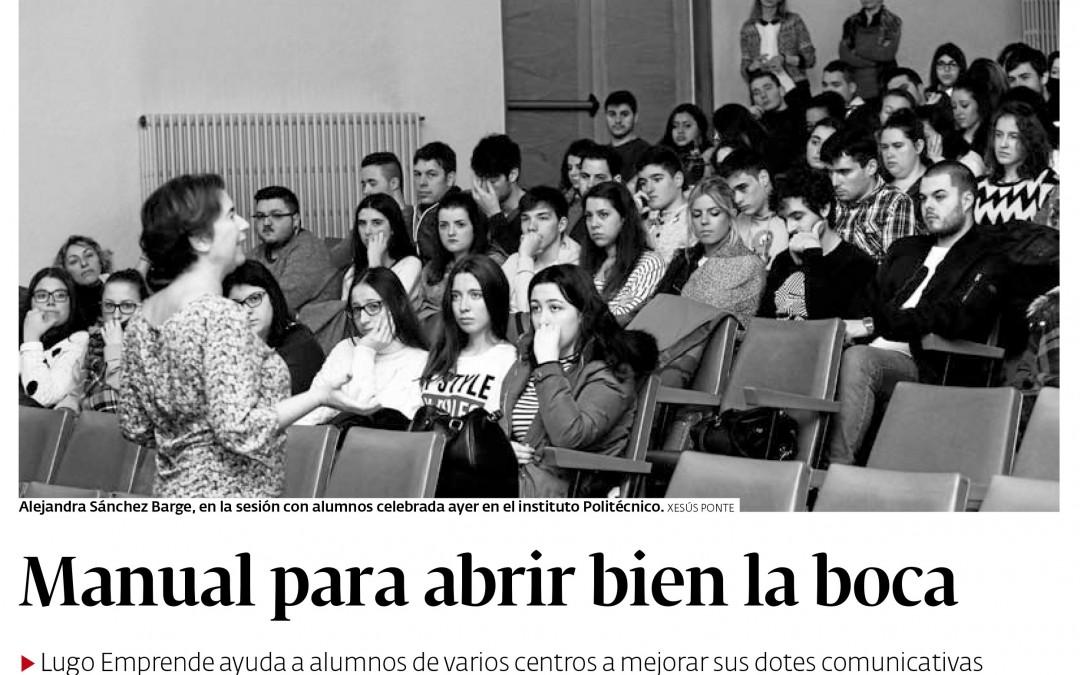 Taller de oratoria en Lugo para profesores y alumnos